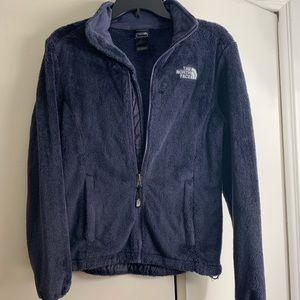 fuzzy dark purple north face zip up jacket